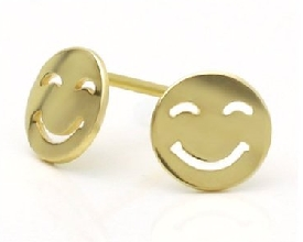 Smiley Face Yellow Gold Earring