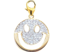 Smiley Face Gold & Diamond Charm